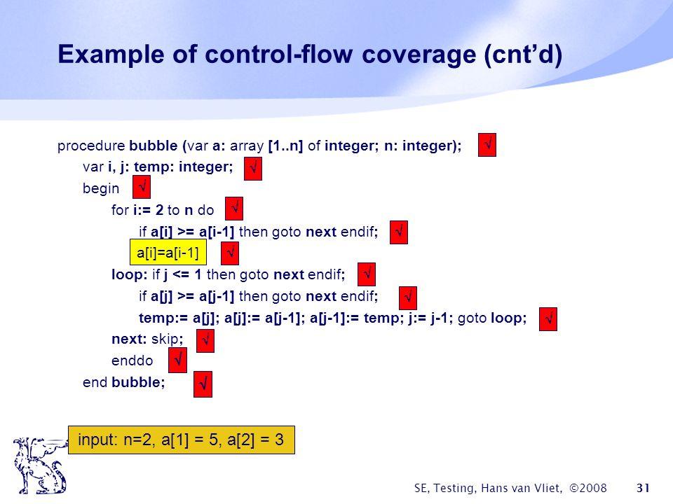 SE, Testing, Hans van Vliet, ©2008 31 Example of control-flow coverage (cntd) procedure bubble (var a: array [1..n] of integer; n: integer); var i, j: