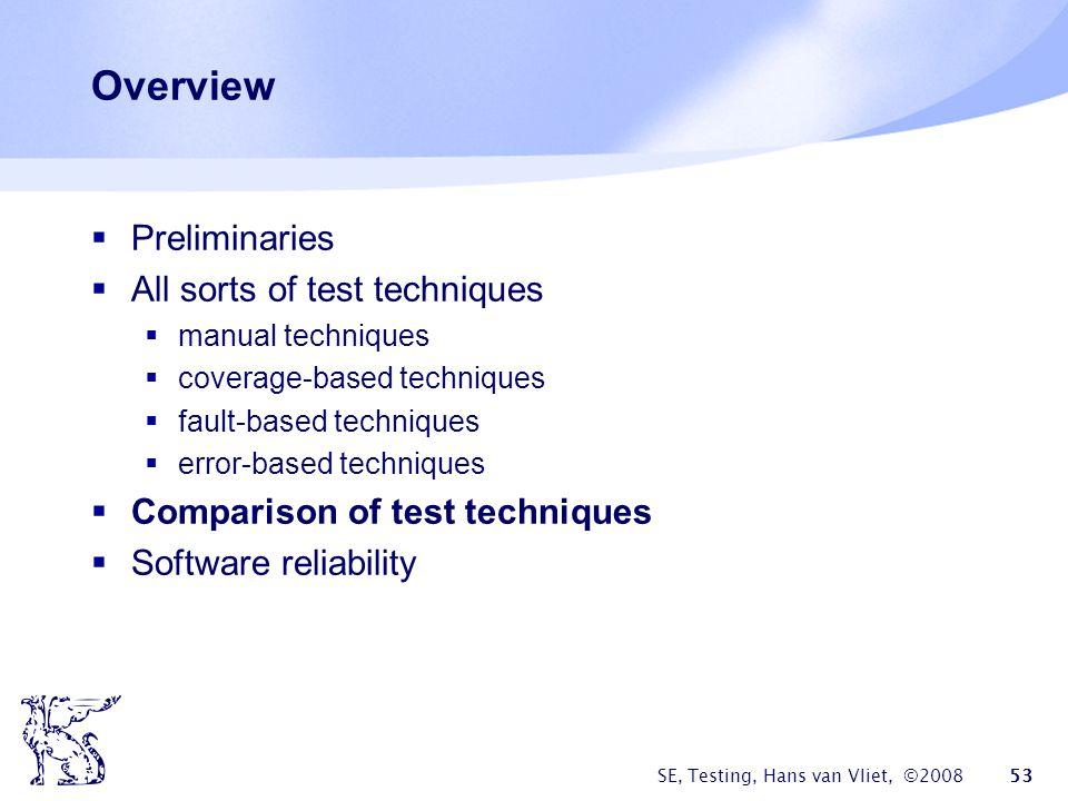 SE, Testing, Hans van Vliet, ©2008 53 Overview Preliminaries All sorts of test techniques manual techniques coverage-based techniques fault-based tech