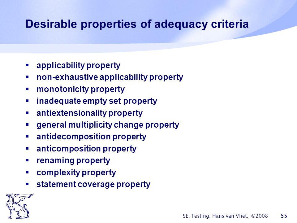 SE, Testing, Hans van Vliet, ©2008 55 Desirable properties of adequacy criteria applicability property non-exhaustive applicability property monotonic