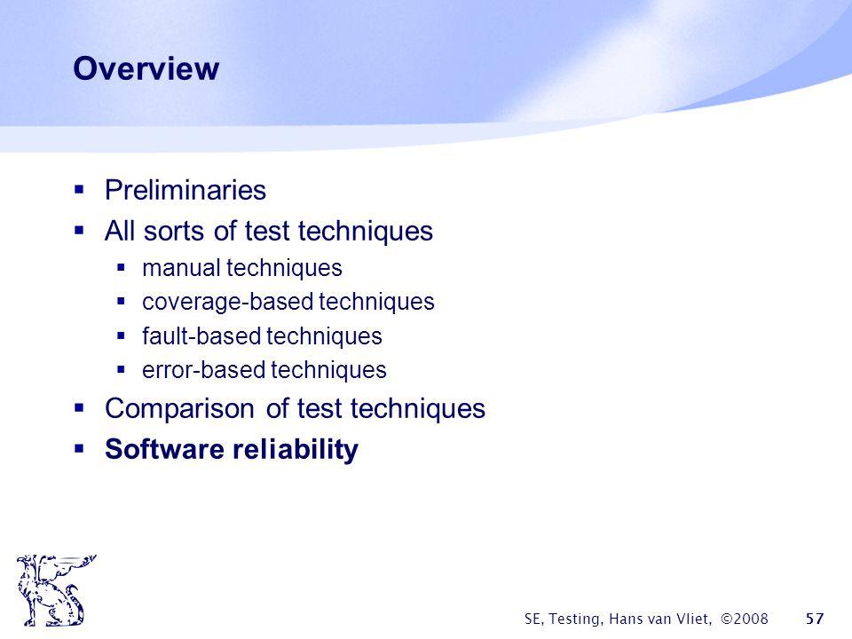 SE, Testing, Hans van Vliet, ©2008 57 Overview Preliminaries All sorts of test techniques manual techniques coverage-based techniques fault-based tech