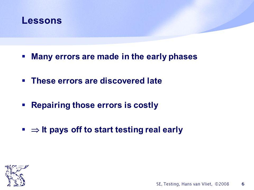 SE, Testing, Hans van Vliet, ©2008 7 How then to proceed.