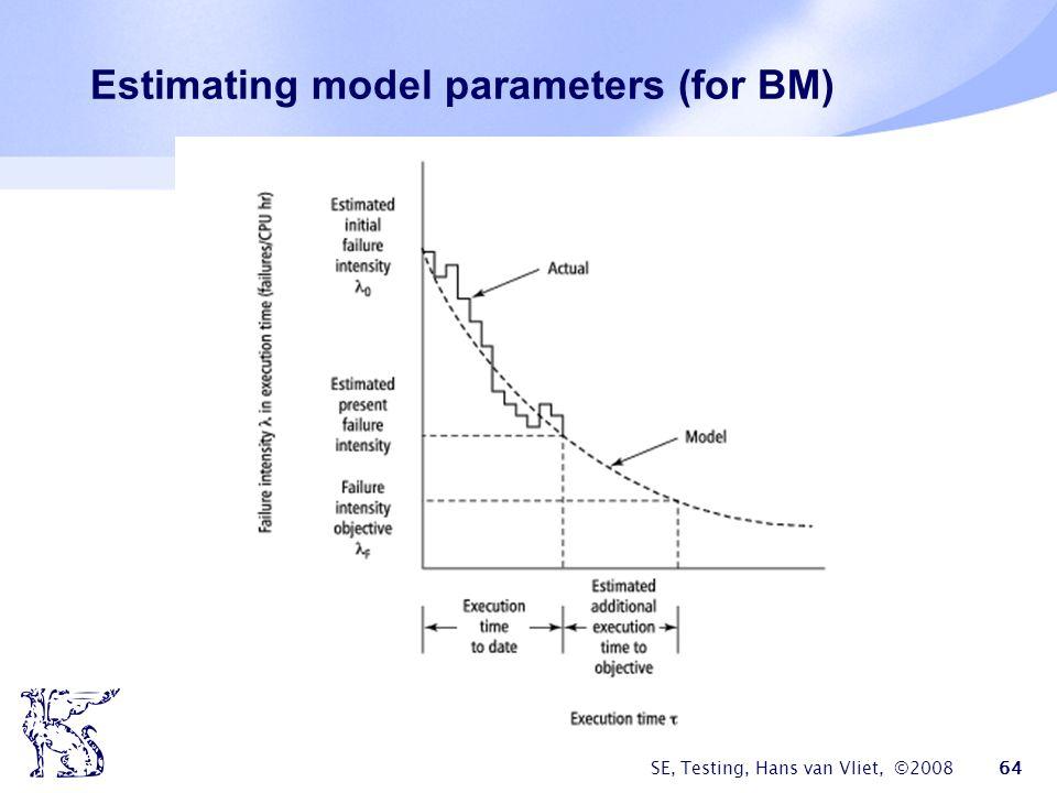 SE, Testing, Hans van Vliet, ©2008 64 Estimating model parameters (for BM)