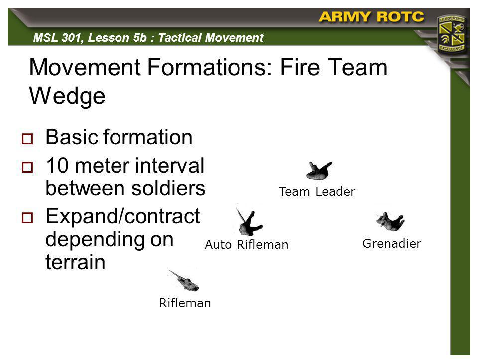 MSL 301, Lesson 5b : Tactical Movement Movement Formations: Fire Team Wedge Basic formation 10 meter interval between soldiers Expand/contract dependi