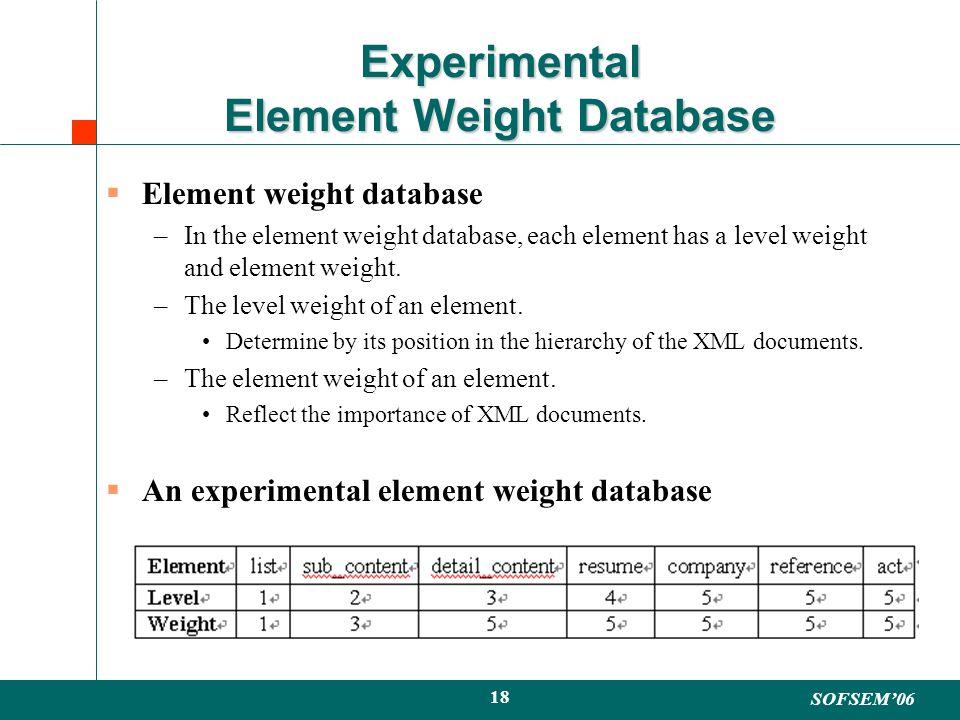SOFSEM06 18 Experimental Element Weight Database Element weight database –In the element weight database, each element has a level weight and element weight.