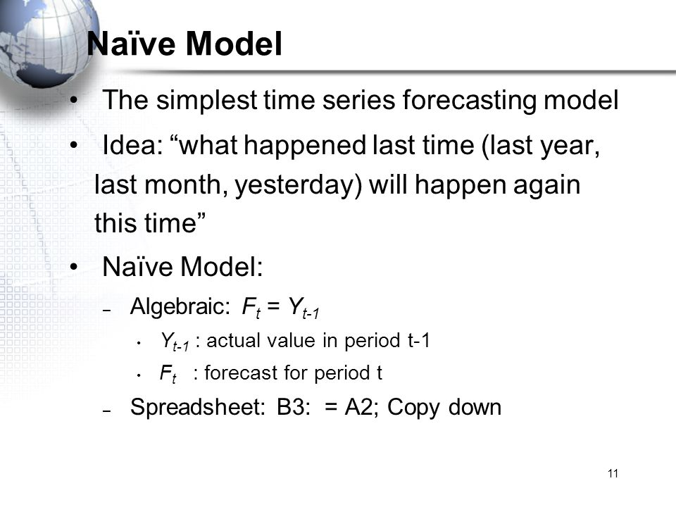 11 Naïve Model The simplest time series forecasting model Idea: what happened last time (last year, last month, yesterday) will happen again this time
