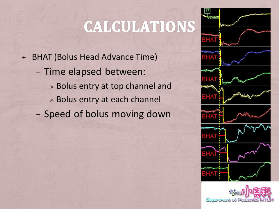 + BHAT (Bolus Head Advance Time) – Time elapsed between: Bolus entry at top channel and Bolus entry at each channel – Speed of bolus moving down BHAT