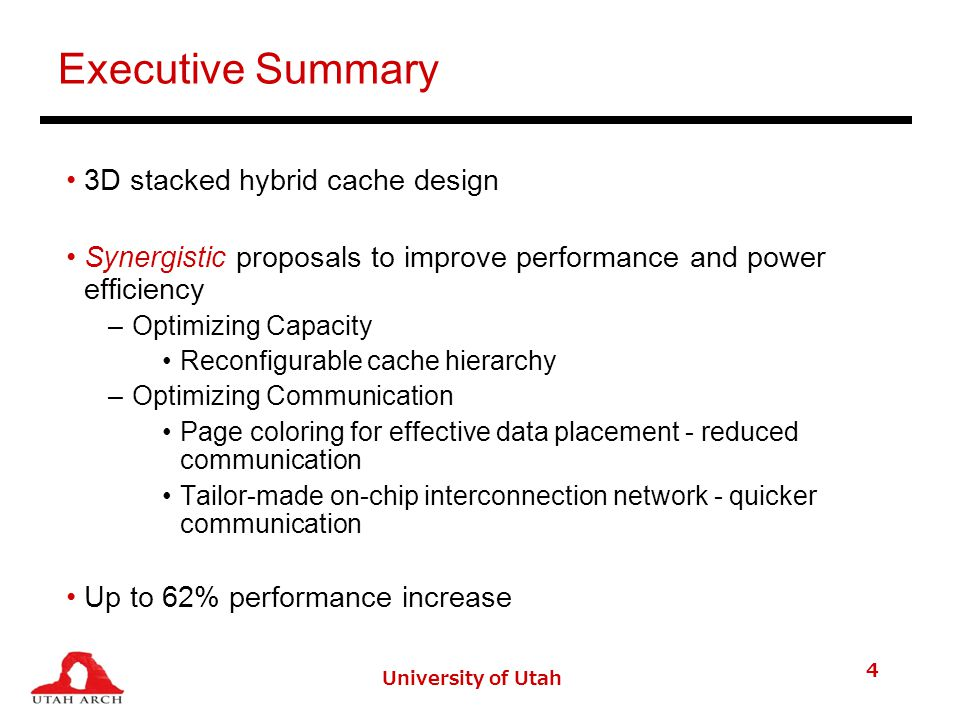 University of Utah 25 Workload Characterization Working set size of code pages is 0.6% of data pages Average code page access count is 57%