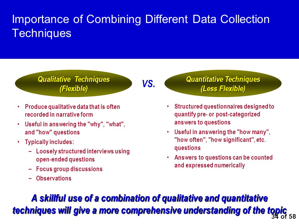 34 of 58 Importance of Combining Different Data Collection Techniques A skillful use of a combination of qualitative and quantitative techniques will