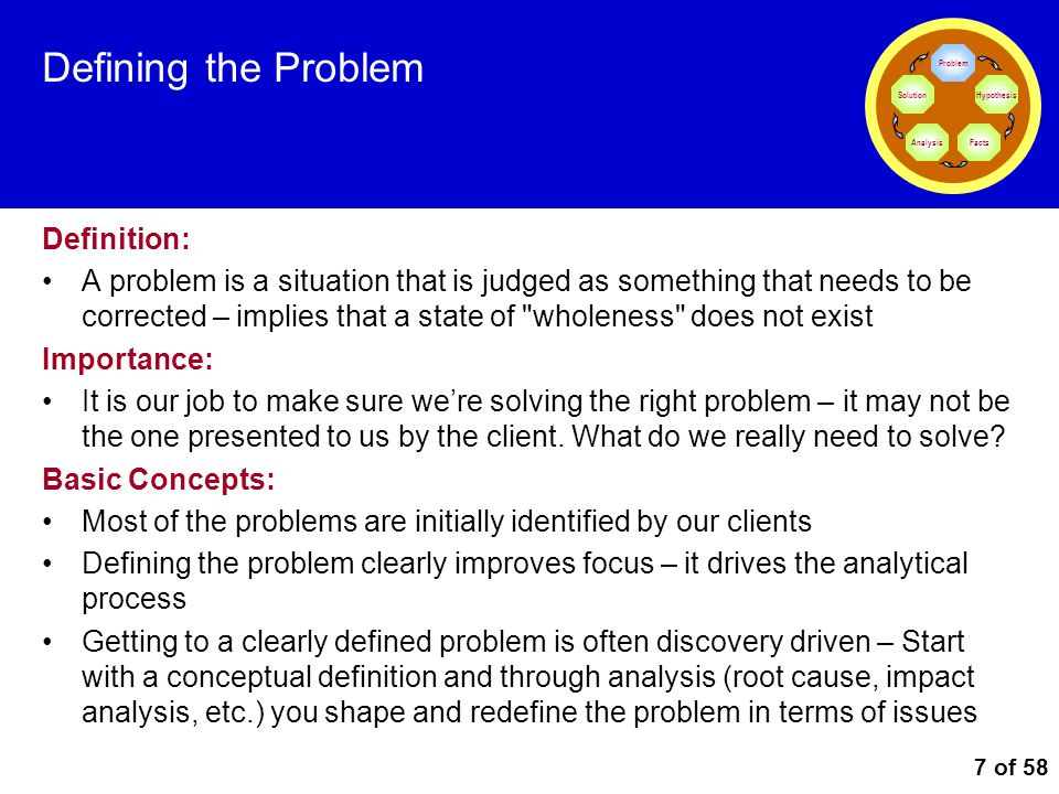 7 of 58 Defining the Problem Definition: A problem is a situation that is judged as something that needs to be corrected – implies that a state of