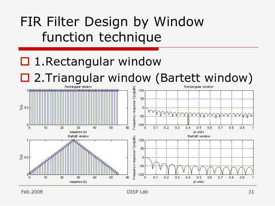 Feb.2008DISP Lab31 FIR Filter Design by Window function technique 1.Rectangular window 2.Triangular window (Bartett window)