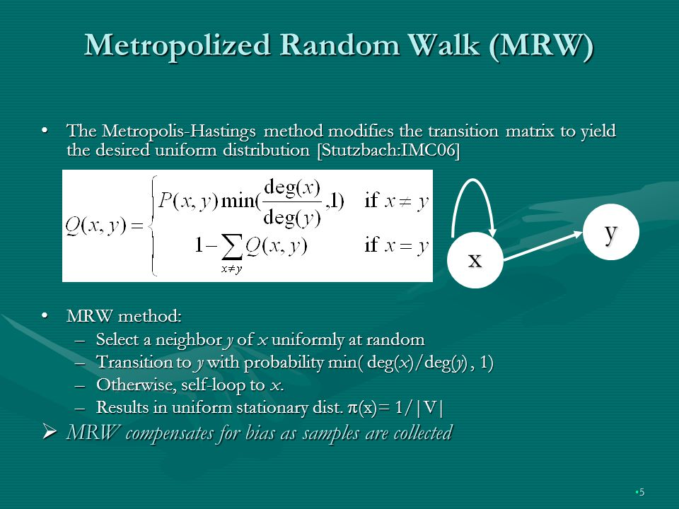 Metropolized Random Walk (MRW) The Metropolis-Hastings method modifies the transition matrix to yield the desired uniform distribution [Stutzbach:IMC06]The Metropolis-Hastings method modifies the transition matrix to yield the desired uniform distribution [Stutzbach:IMC06] MRW method:MRW method: –Select a neighbor y of x uniformly at random –Transition to y with probability min( deg(x)/deg(y), 1) –Otherwise, self-loop to x.