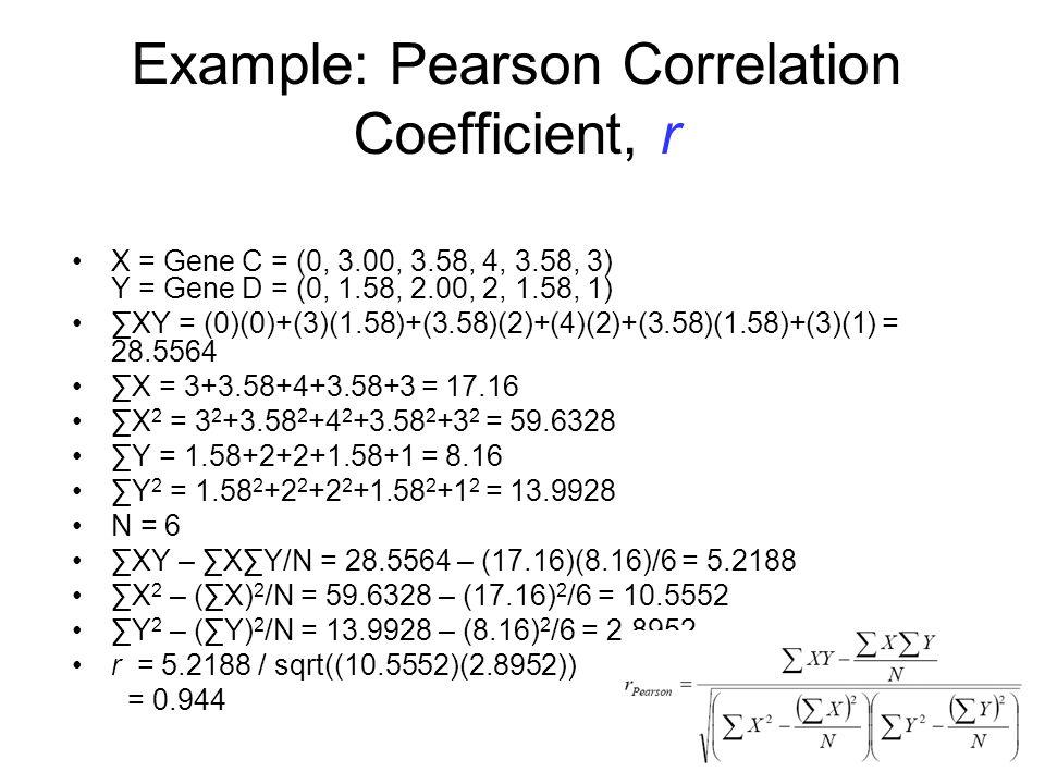 Example: Pearson Correlation Coefficient, r X = Gene C = (0, 3.00, 3.58, 4, 3.58, 3) Y = Gene D = (0, 1.58, 2.00, 2, 1.58, 1) XY = (0)(0)+(3)(1.58)+(3