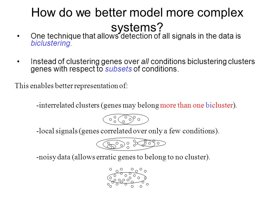 How do we better model more complex systems? One technique that allows detection of all signals in the data is biclustering. Instead of clustering gen
