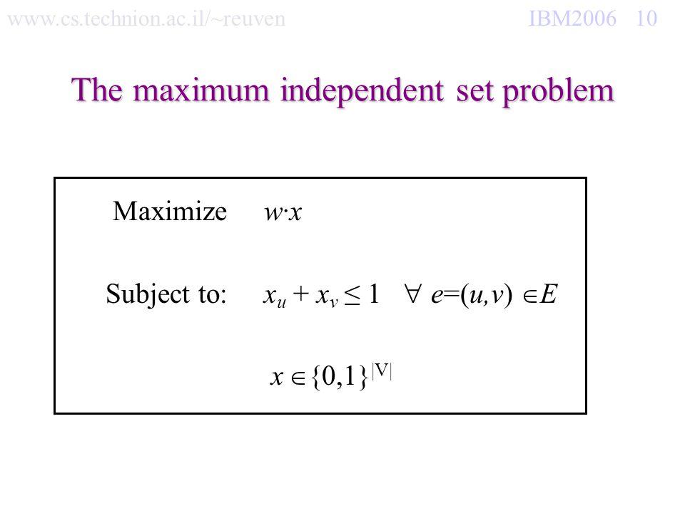 www.cs.technion.ac.il/~reuven IBM2006 10 The maximum independent set problem Maximize w·x Subject to:x u + x v 1 e=(u,v) E x {0,1} |V|
