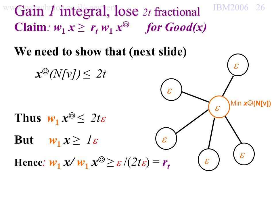 www.cs.technion.ac.il/~reuven IBM2006 26 Gain 1 integral, lose fractional Gain 1 integral, lose 2t fractional Claim: w 1 x r t w 1 x for Good(x) Min x