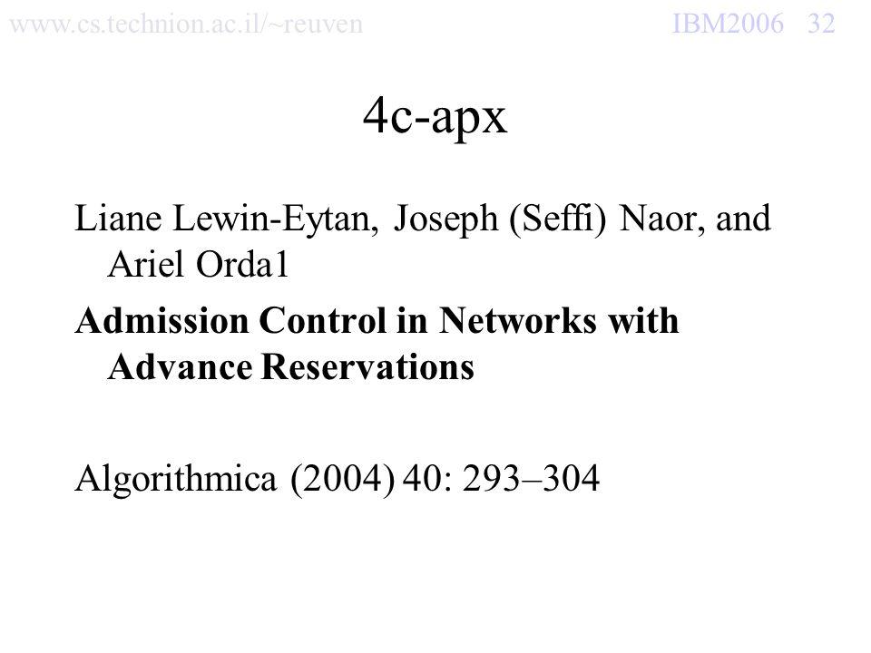 www.cs.technion.ac.il/~reuven IBM2006 32 4c-apx Liane Lewin-Eytan, Joseph (Seffi) Naor, and Ariel Orda1 Admission Control in Networks with Advance Res