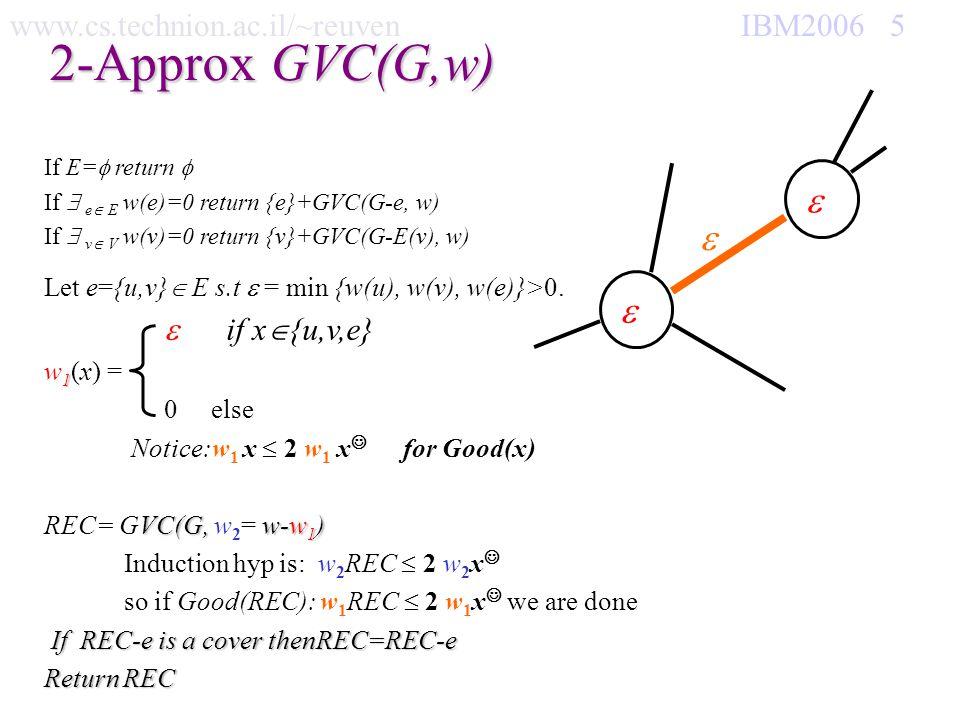 www.cs.technion.ac.il/~reuven IBM2006 5 2-Approx GVC(G,w) If E= return If e E w(e)=0 return {e}+GVC(G-e, w) If v V w(v)=0 return {v}+GVC(G-E(v), w) Le