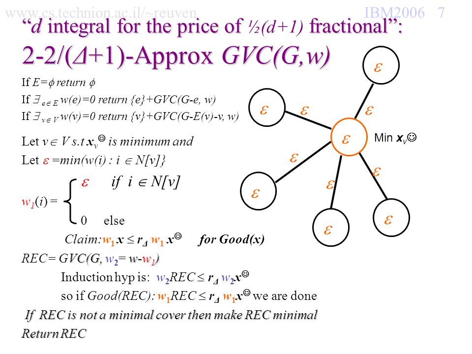www.cs.technion.ac.il/~reuven IBM2006 8 d integral for the price of fractional:d integral for the price of ½(d+1) fractional: Claim: w 1 x r Δ w 1 x for Good(x) Min x v If Min x v ½ Then x (N[v]) ½(d+1) Else x (N[v]) ½(d+1) Thus w 1 x ½(d+1) But w 1 x d Hence : w 1 x/ w 1 x 2-2/(d+1) Δ 2-2/( Δ +1) = r Δ