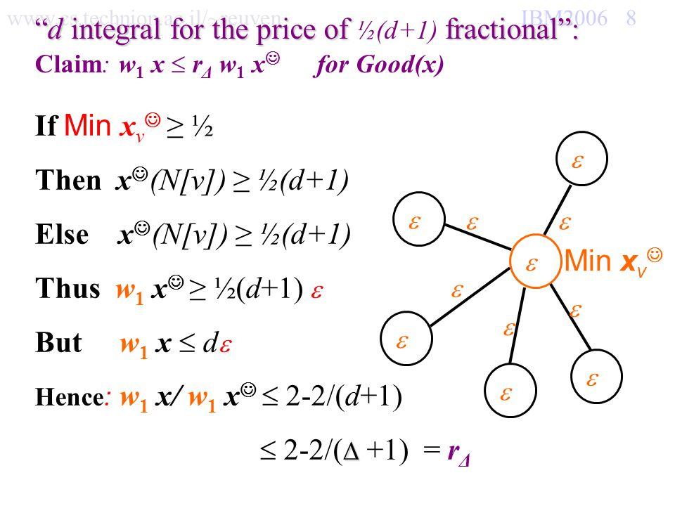 www.cs.technion.ac.il/~reuven IBM2006 8 d integral for the price of fractional:d integral for the price of ½(d+1) fractional: Claim: w 1 x r Δ w 1 x f