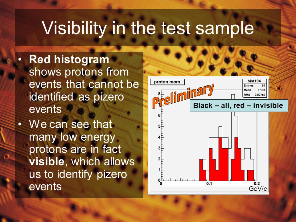 Visibility in the test sample Red histogram shows protons from events that cannot be identified as pizero events We can see that many low energy protons are in fact visible, which allows us to identify pizero events Black – all, red – invisible GeV/c