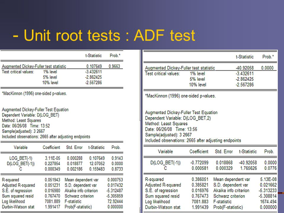 - Unit root tests : ADF test
