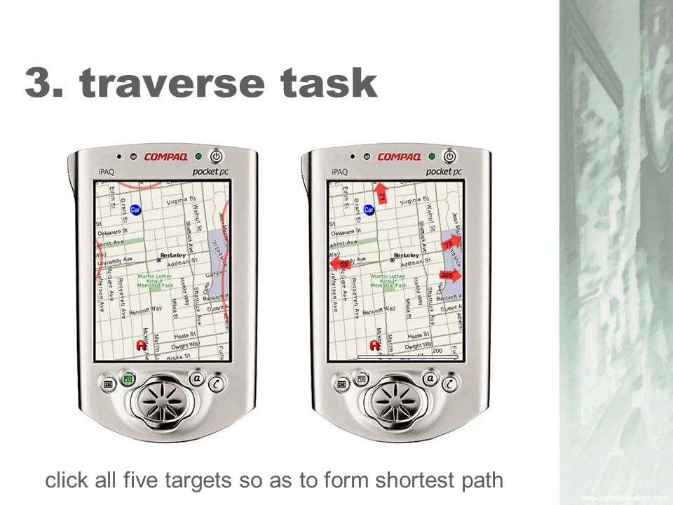 3. traverse task click all five targets so as to form shortest path