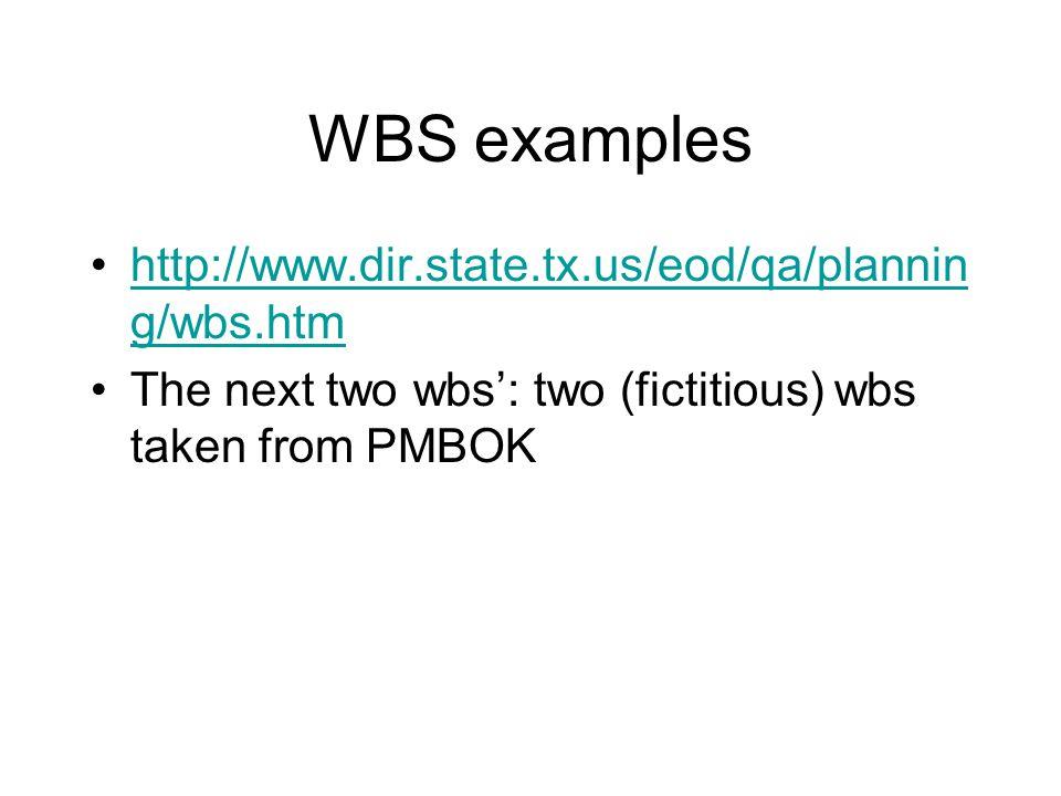 WBS examples http://www.dir.state.tx.us/eod/qa/plannin g/wbs.htmhttp://www.dir.state.tx.us/eod/qa/plannin g/wbs.htm The next two wbs: two (fictitious)