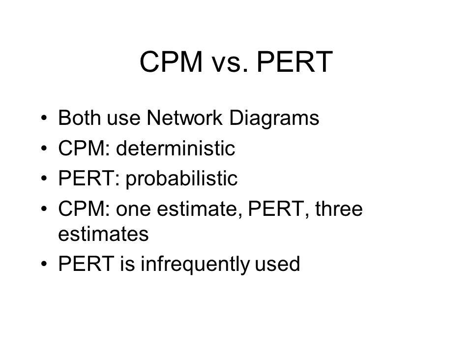 CPM vs. PERT Both use Network Diagrams CPM: deterministic PERT: probabilistic CPM: one estimate, PERT, three estimates PERT is infrequently used