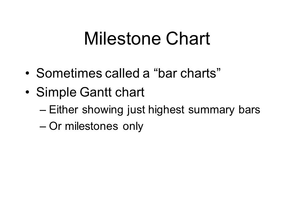 Milestone Chart Sometimes called a bar charts Simple Gantt chart –Either showing just highest summary bars –Or milestones only