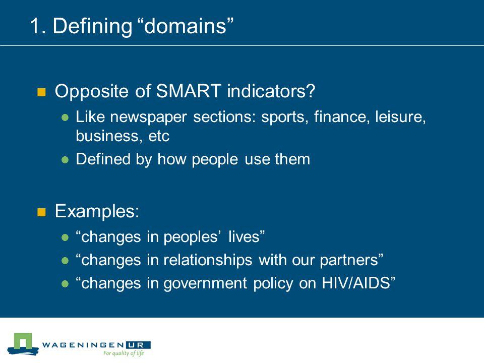 1. Defining domains Opposite of SMART indicators.