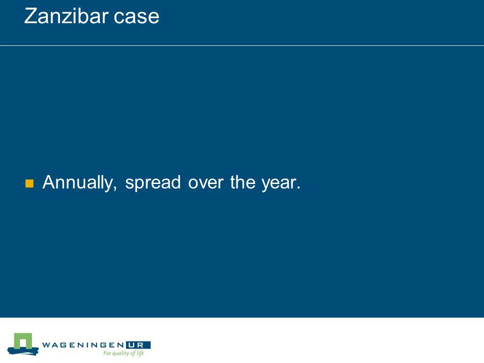Zanzibar case Annually, spread over the year.