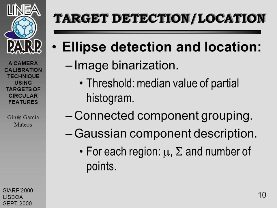 A CAMERA CALIBRATION TECHNIQUE USING TARGETS OF CIRCULAR FEATURES Ginés García Mateos SIARP2000 LISBOA SEPT.