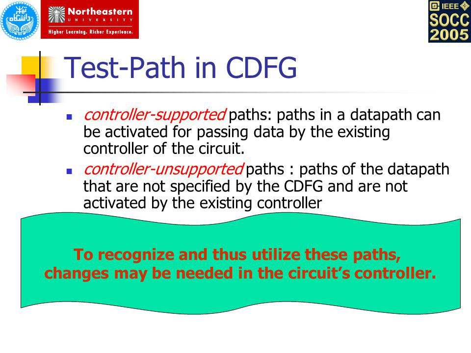 Test-Path in CDFG controller-supported paths: paths in a datapath can be activated for passing data by the existing controller of the circuit. control