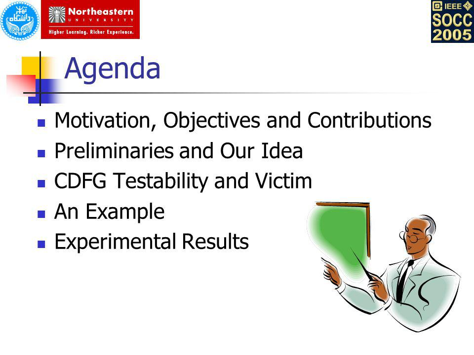 Agenda Motivation, Objectives and Contributions Preliminaries and Our Idea CDFG Testability and Victim An Example Experimental Results