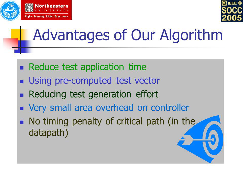Advantages of Our Algorithm Reduce test application time Using pre-computed test vector Reducing test generation effort Very small area overhead on co