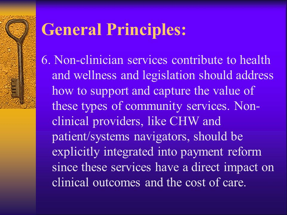 General Principles: 6. Non-clinician services contribute to health and wellness and legislation should address how to support and capture the value of