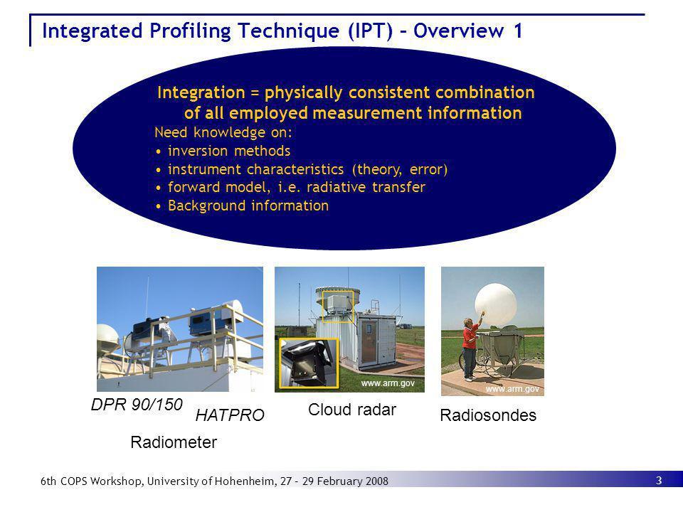 3 6th COPS Workshop, University of Hohenheim, 27 – 29 February 2008 HATPRO DPR 90/150 Cloud radar Radiometer www.arm.gov Radiosondes Integrated Profil