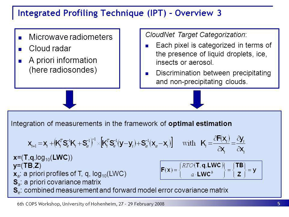 5 6th COPS Workshop, University of Hohenheim, 27 – 29 February 2008 Integrated Profiling Technique (IPT) – Overview 3 Microwave radiometers Cloud rada