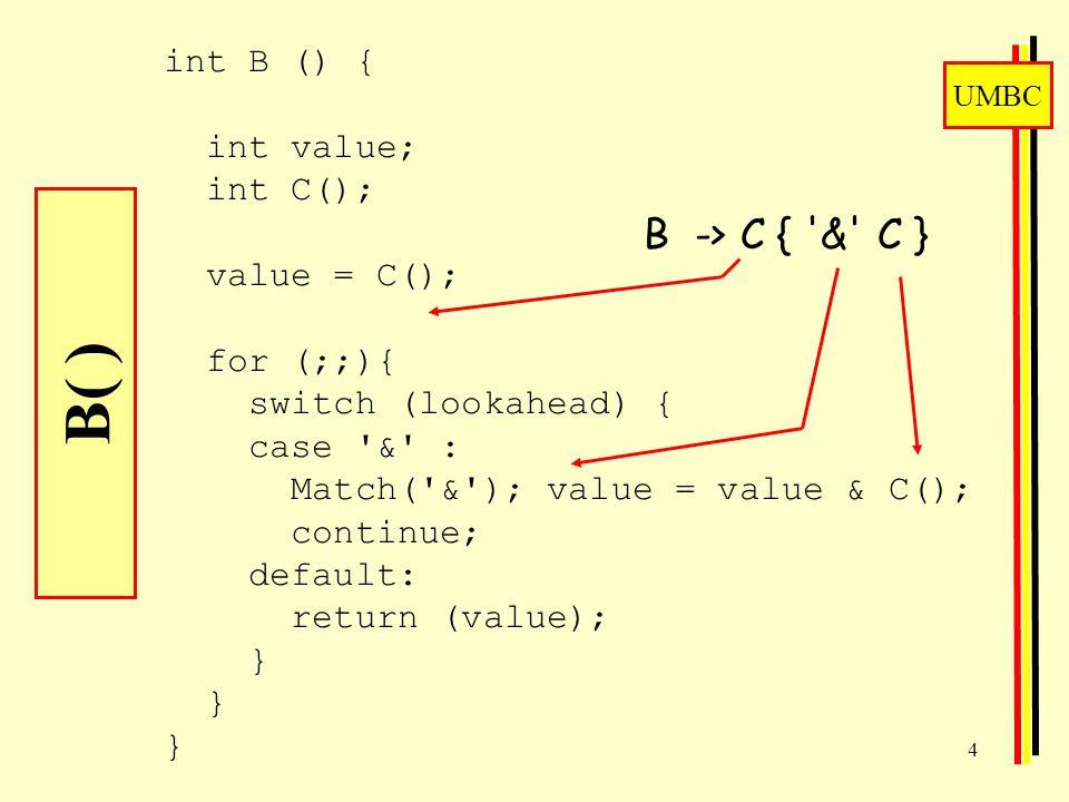 UMBC 4 B( ) int B () { int value; int C(); value = C(); for (;;){ switch (lookahead) { case & : Match( & ); value = value & C(); continue; default: return (value); } } } B -> C { & C }