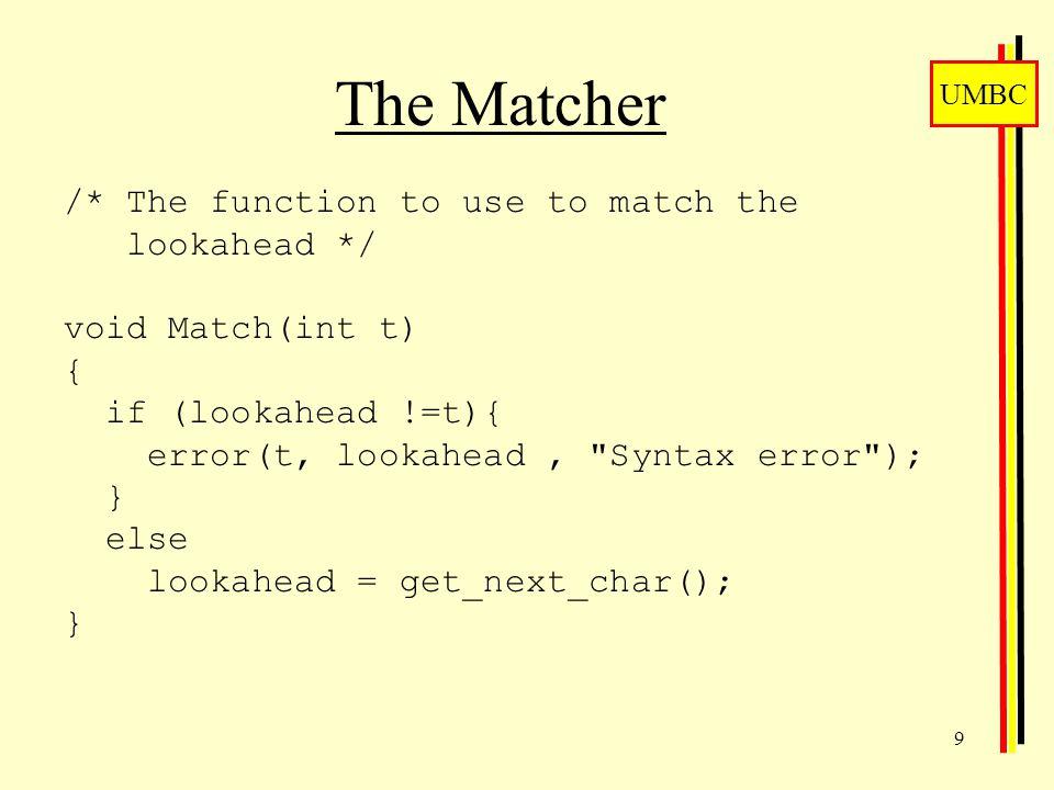 UMBC 10 Reporting Errors void error(char e, char g, char*s) { printf( %s - Expected %c - Got %c \n , s, e, g); lookahead = get_next_char(); }