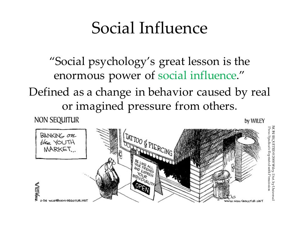 Obedience & Harming Others People comply to social pressures.