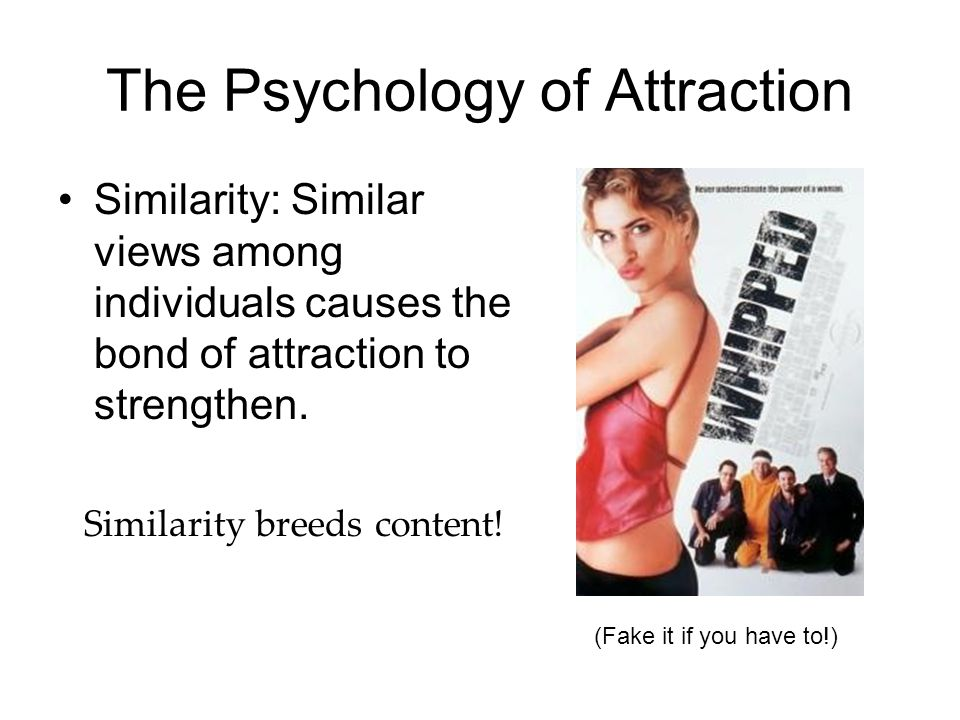The Psychology of Attraction Similarity: Similar views among individuals causes the bond of attraction to strengthen. Similarity breeds content! (Fake
