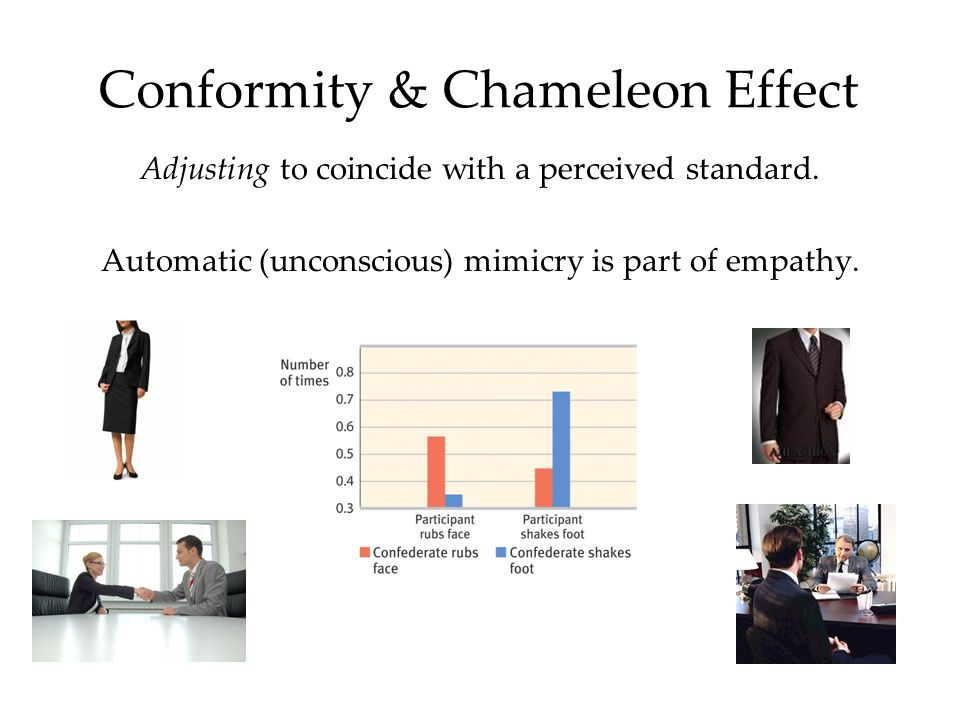 Conformity & Chameleon Effect Adjusting to coincide with a perceived standard. Automatic (unconscious) mimicry is part of empathy.