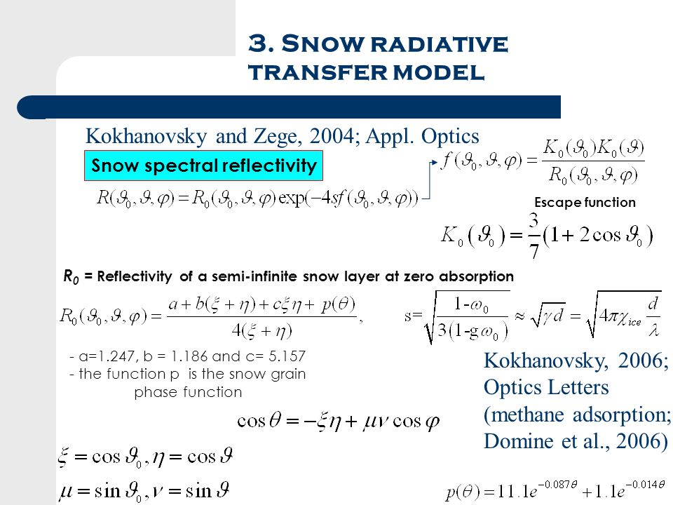 3. Snow radiative transfer model - a=1.247, b = 1.186 and c= 5.157 - the function p is the snow grain phase function Snow spectral reflectivity R 0 =