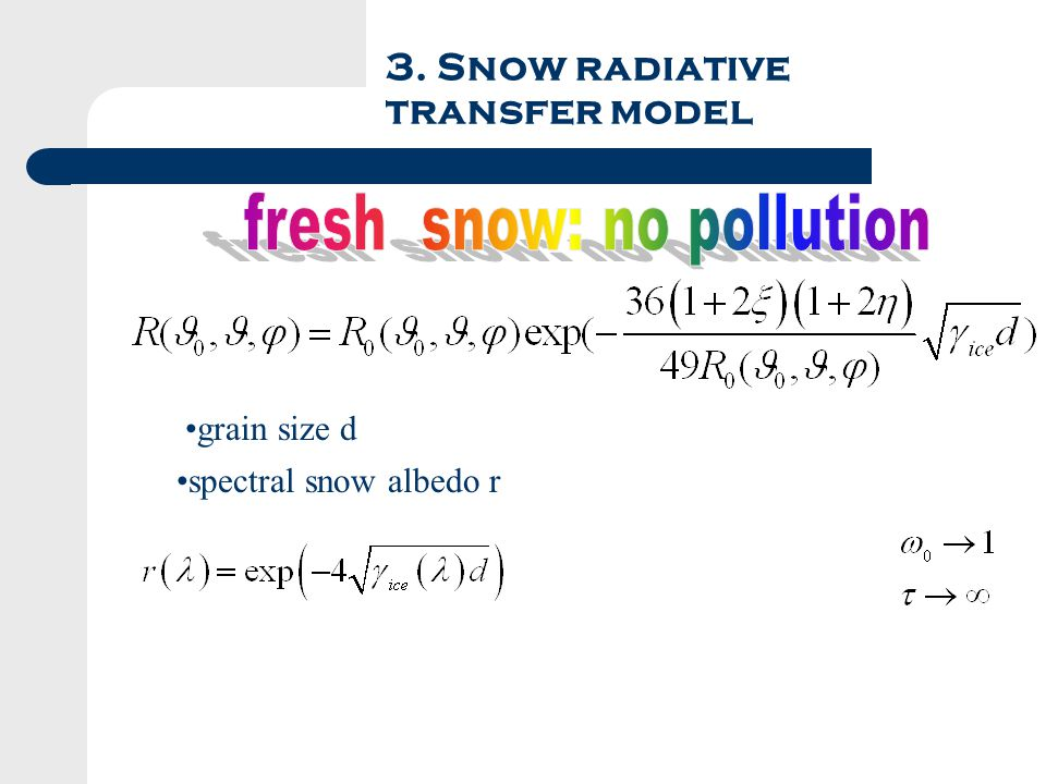 3. Snow radiative transfer model grain size d spectral snow albedo r