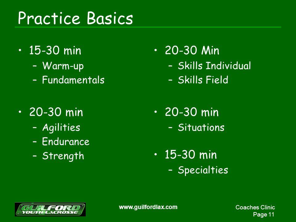 Coaches Clinic Page 11 www.guilfordlax.com Practice Basics 15-30 min –Warm-up –Fundamentals 20-30 min –Agilities –Endurance –Strength 20-30 Min –Skills Individual –Skills Field 20-30 min –Situations 15-30 min –Specialties