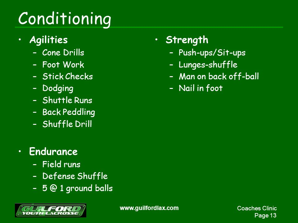 Coaches Clinic Page 13 www.guilfordlax.com Conditioning Agilities –Cone Drills –Foot Work –Stick Checks –Dodging –Shuttle Runs –Back Peddling –Shuffle