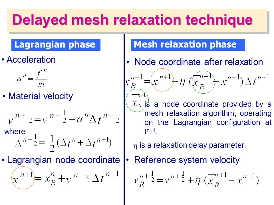Delayed mesh relaxation technique Lagrangian phase Acceleration Lagrangian node coordinate Material velocity where Mesh relaxation phase Reference sys