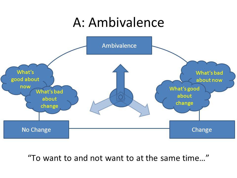 A: Ambivalence No ChangeChange Ambivalence Whats good about now Whats bad about now Whats good about change To want to and not want to at the same tim