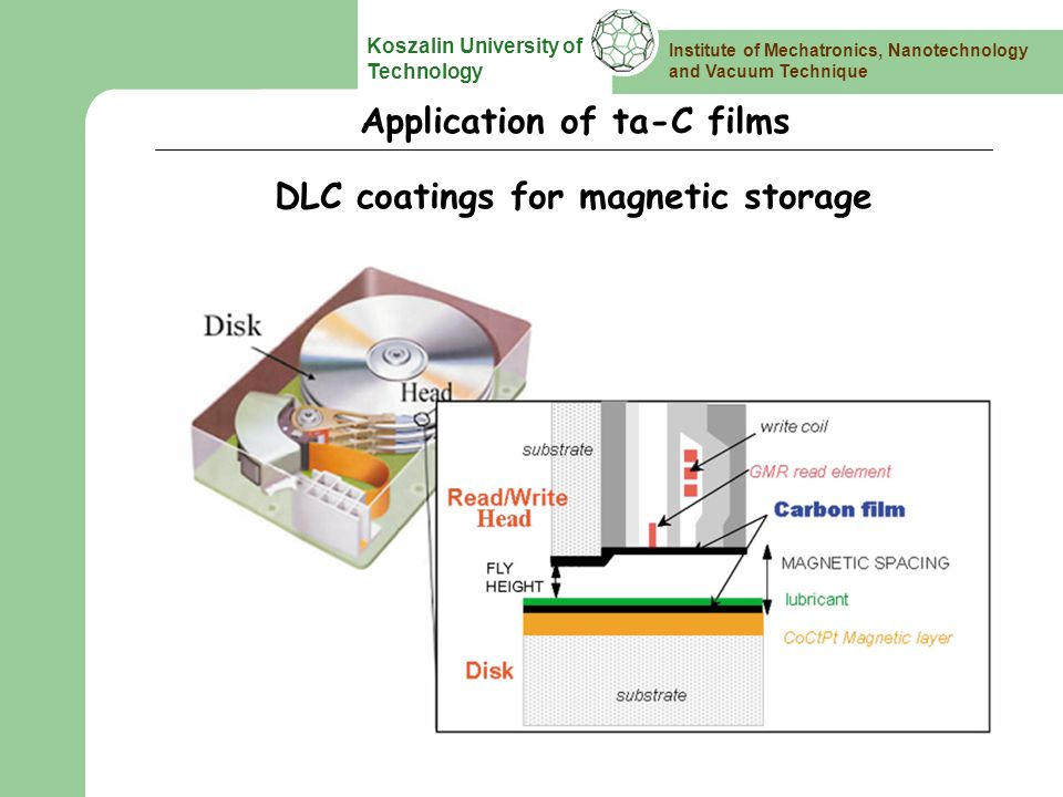 Institute of Mechatronics, Nanotechnology and Vacuum Technique Koszalin University of Technology Application of ta-C films DLC coatings for magnetic storage